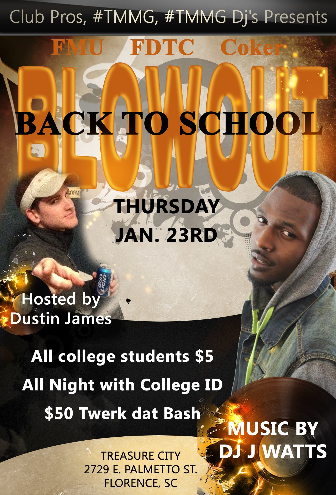 FMU, FDTC, COKER  BACK TO SCHOOL BLOWOUT  THURSDAY JANUARY 23RD Treasure City Florence, SC