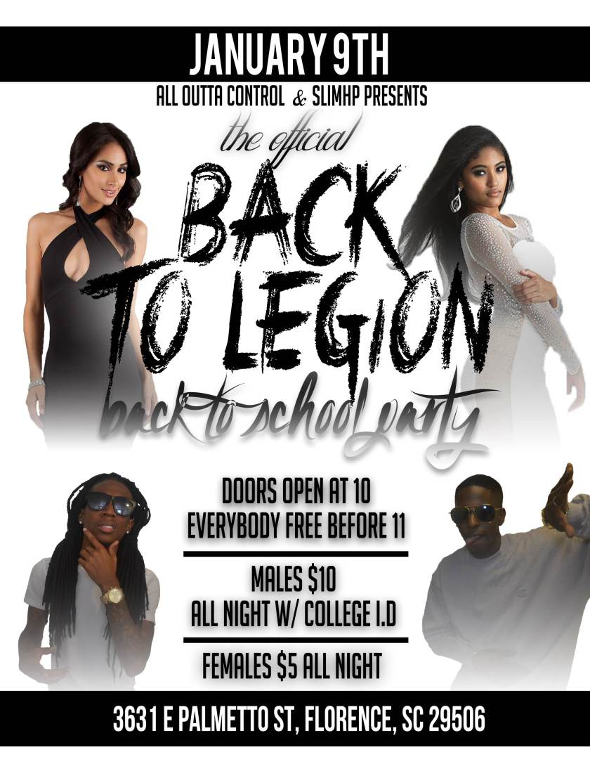 The Official FMU Back To Legion Back To School Party #Thursday Jan. 9th @ American Legion Florence, SC http://bit.ly/A7UFnF