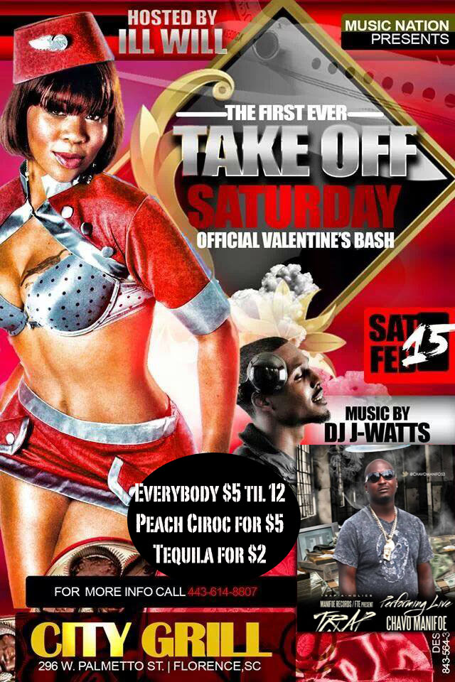 #Saturday City Grill Florence, SC Takeoff Saturdays All Star Valentines Weekend