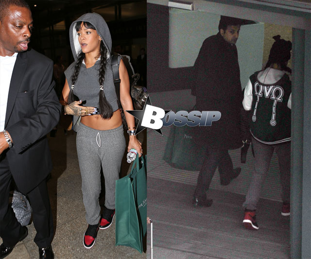 Rihanna wears an OVO jacket leaving London after accompanying Drake on tour