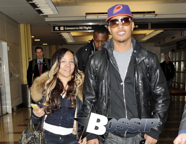 T.I. and Tiny Happily Arrive at Airport