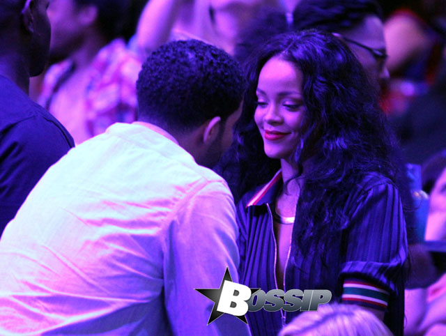 Drake and Rihanna at the Clippers game in LA. The Oklahoma City Thunder defeated the Los Angeles Clippers by the final score of 107-101 at Staples Center in Downtown Los Angeles.